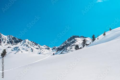 A man walk into the snow of mountain #433574120