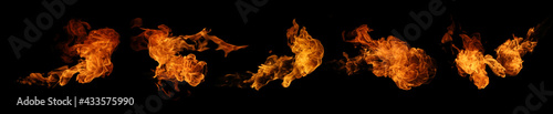 Fotografia Fire collection set of flame burning isolated on dark background for graphic des