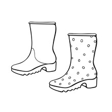 Vector Outline Polka Dot Rubber Rain Boots For Rainy Weather Or Gardening. Hand Drawn Element Of Clothes, Clip Art In Doodle Style, Isolated