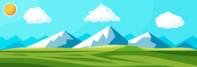 Landscape Of Mountains And Green Hills. Summer Nature Landscape With Rocks, Forest, Grass, Sun, Sky And Clouds. National Park Or Nature Reserve. Vector Illustration In Flat Style