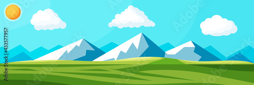 Landscape Of Mountains And Green Hills Fototapeta
