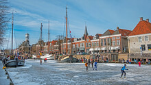 Winter Fun In The City Dokkum On The Canals In The Netherlands