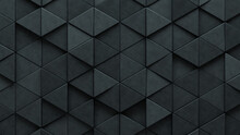 Triangular Tiles Arranged To Create A Futuristic Wall. 3D, Semigloss Background Formed From Concrete Blocks. 3D Render