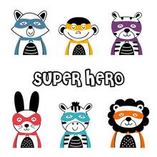 Set Of Isolated Superhero Animals Part 2