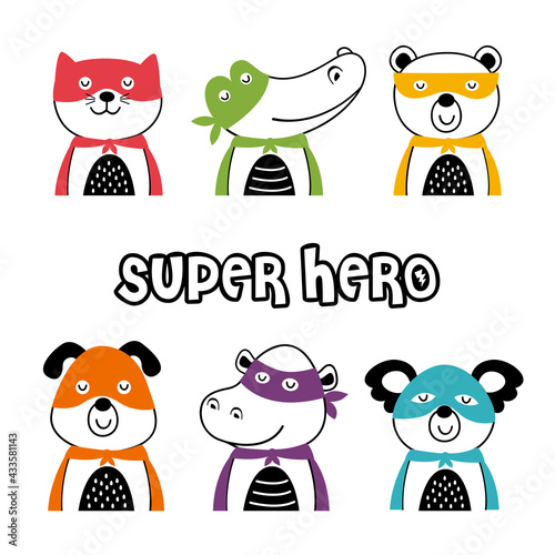 set of isolated superhero animals part 1 - fototapety na wymiar