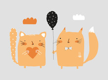 Cute Nursery Vector Art With Ginger Cat And Fox On A Light Gray Background. Little Cat Holding Orange Heart And Funny Fox With Black Dotted Balloon. Simple Print Ideal For Wall Art, Poster, Card.