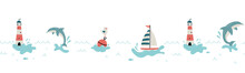 Cute Hand Drawn Marine Seamless Pattern, Lovely Creatures, Lighthouse, Ship And Decoration, Background, Great For Children's Textiles, Banners, Wallpapers, Wrapping, Swimsuits - Vector Design
