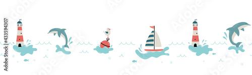 Obraz na plátně Cute hand drawn marine seamless pattern, lovely creatures, lighthouse, ship and