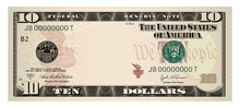 US Dollars 10 Banknote -American Dollar Bill Cash Money Isolated On White Background.