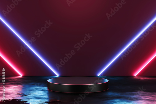 Futuristic neon light product background stage or podium pedestal on grunge street floor with glow spotlight and blank display platform. 3D rendering. - fototapety na wymiar