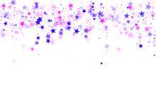 Flying Stars Confetti Holiday Vector In Pink Violet Purple On White. Abstract Starburst Modern Confetti. Cute Cartoon Stars Holiday Vector. Fireworks Sparkles Festival Symbols.