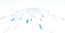 Abstract Vector Blue Background, Communication Technology Concept, 3d Bits Flying In Perspective, Futuristic Abstraction.
