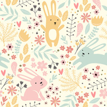 Seamless Spring Pattern With Rabbits And Plants. Easter Pattern. Cartoon Bunnies