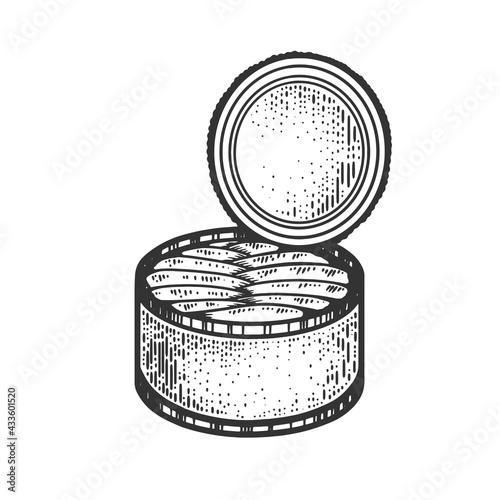 Fototapeta Canned fish sketch raster illustration obraz