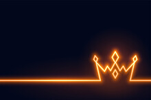 Neon Crown Background In Line Style