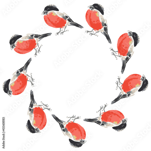 Obraz na plátně Vector round frame from watercolor sketches of bullfinches