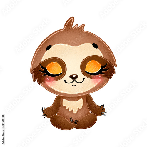 Naklejka premium Cute cartoon animals meditate. Animals yoga. Sloth meditation.