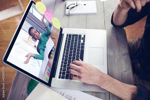Caucasian male teacher giving online lesson to pupil