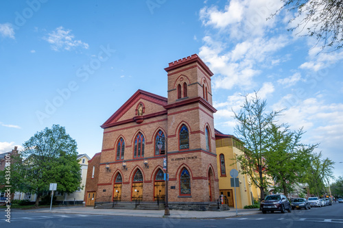 Fotografie, Obraz Kingston, NY - USA- May 12, 2021: VIew of the Saint Joseph Roman Catholic Church in the Kingston Stockade District
