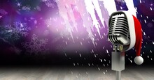 Vintage Microphone On A Stand Over Purple Snowflakes Background, Performance And Holiday Concepts