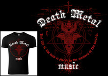 T-shirt Design Death Metal With Red Satanism Symbol And Grunge Pattern - Colored Illustration Isolated On Black Background