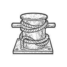 Mooring Bollard Bitt With Rope Sketch Engraving Vector Illustration. T-shirt Apparel Print Design. Scratch Board Imitation. Black And White Hand Drawn Image.