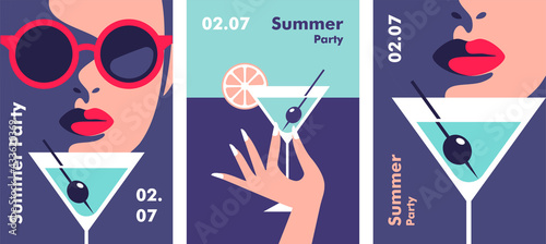 Fototapeta Summer party poster design template. Minimalistic style vector illustration. obraz