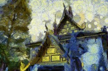 Ancient Temples, Art And Architecture In The Northern Thai Style Illustrations Creates An Impressionist Style Of Painting.