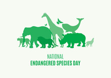 National Endangered Species Day Poster With Green Silhouettes Of Wild Animals Icon Vector. Wild Animals Silhouette Set. Environmenta Icon Vector. Group Of Animals Icon. Important Day
