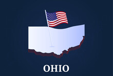 Ohio State Isometric Map And USA National Flag 3D Isometric Shape Of Us State Vector Illustration