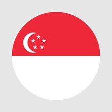 Round Flag Of Singapore Country. Singapore Flag With Button Or Badge.