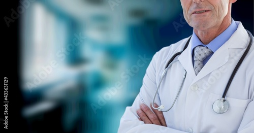 Composition of midsection of male doctor in lab coat and stethoscope with copy space