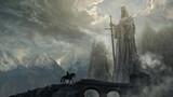Fantasy art landscape with giant statue - digital illustration