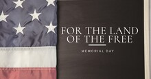 For The Land Of The Free Text And American Flag, Memorial Day And Patriotism Concepts