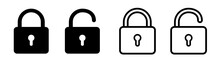 Lock Icon Collection. Locked And Unlocked Black Line Icon Set. Flat Security Symbol. Vector Illustration.
