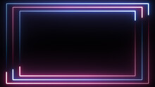 Neon Blue And Red Triple Border Background