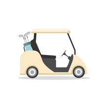 Golf Cart Isolated On White Background. Golf Cart In Flat Style. Vector Stock