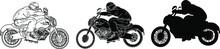 Vintage Vector Motorcycle.Biker And Motorbike Helmet With With Big Bike Chopper.