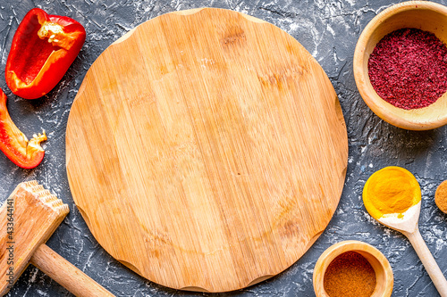 Papel de parede Cook workplace with kitchen tools and sweet pepper gray background top view