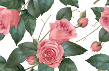 Vintage Flowers. Roses Seamless Pattern. 3d Vector Realistic Background