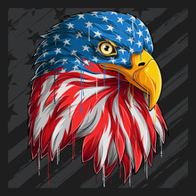 Eagle Head With American Flag Pattern Independence Day Veterans Day 4th Of July And Memorial Day
