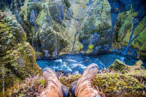 Fotografie, Tablou Fjaðrárgljúfur, Iceland mossy green canyon with breathtaking views