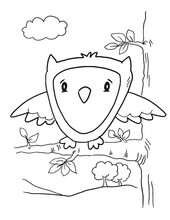 Cute Owl Coloring Book Page Vector Illustration Art