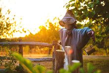 Funny Scarecrow In Hat Placed Near Rural Wooden Fence In Verdant Summer Garden At Sunset