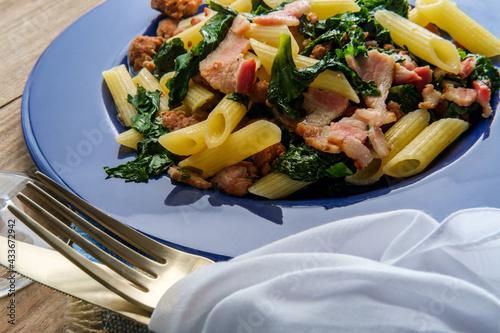 Fototapeta Italian Bacon Sausage Penne obraz