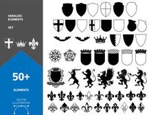 Set Of Heraldic Elements. Stock Vector