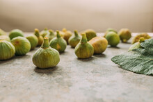 Ripe Sweet Green Figs, Freshly Harvested From Domestic Tree, On Table With Grunge Texture. Also Known As Ripe White Figs