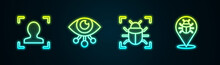 Set Line Face Recognition, Eye Scan, System Bug And . Glowing Neon Icon. Vector