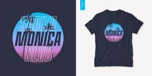 Santa Monica California Graphic T-shirt Design With Palm Tress, Summer Retro Print, Vector Illustration