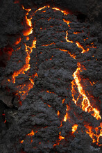 Close-up Texture Fagradalsfjall Volcano Erupting In Iceland